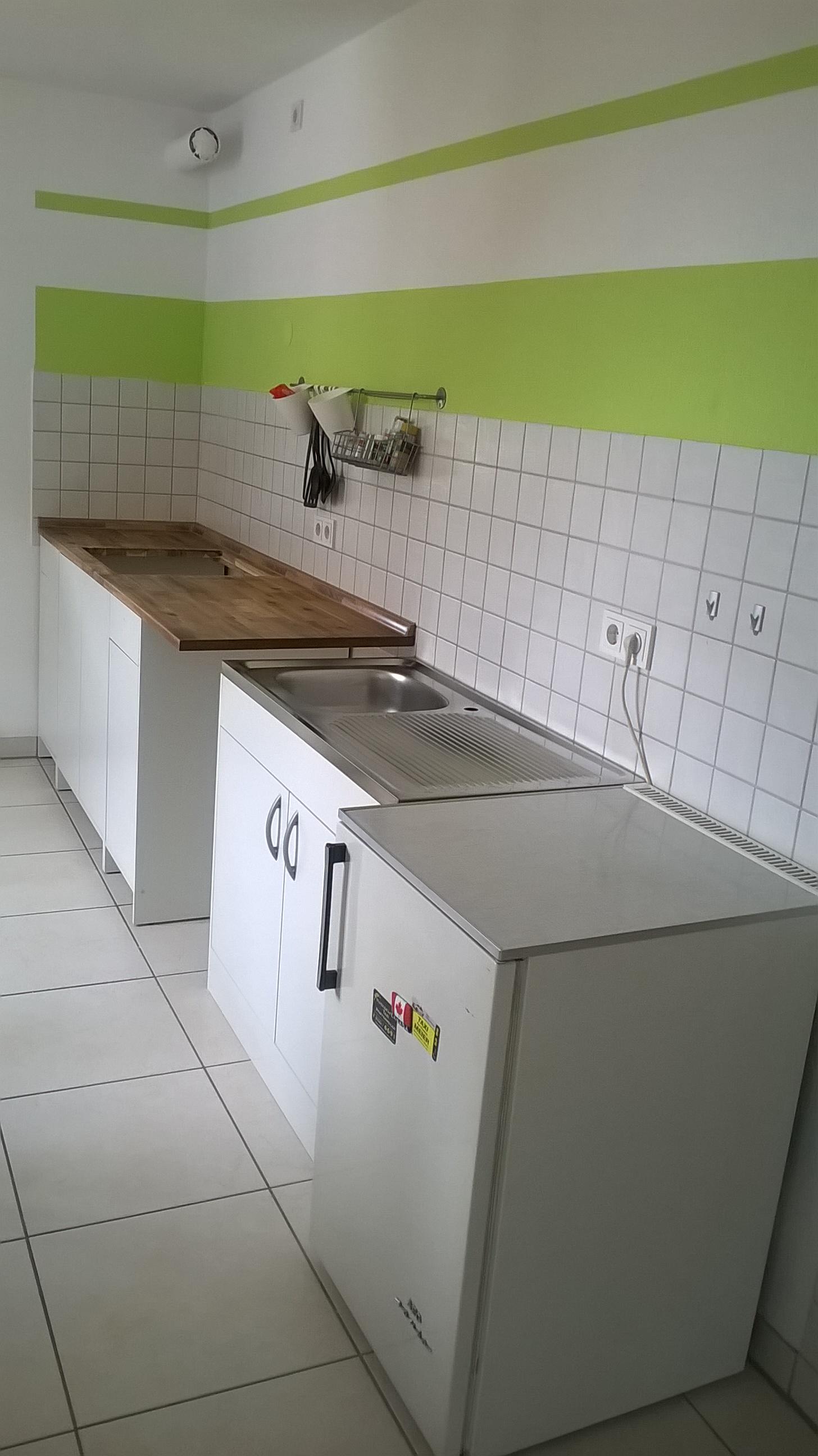 Küchenzeile/Spülbecken und Kühlschrank